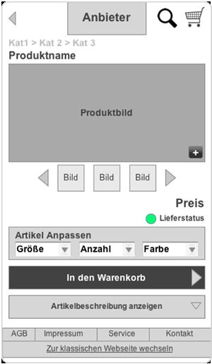 Mobile Commerce Pattern - Produktdetail
