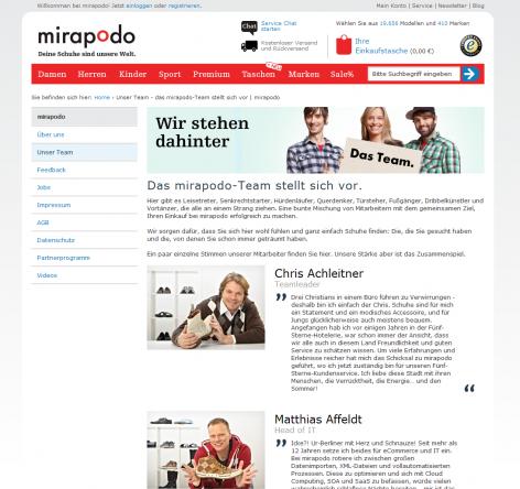 Mirapodo - Über uns Team