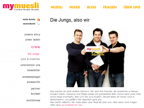 Mymuesli - Über uns Team