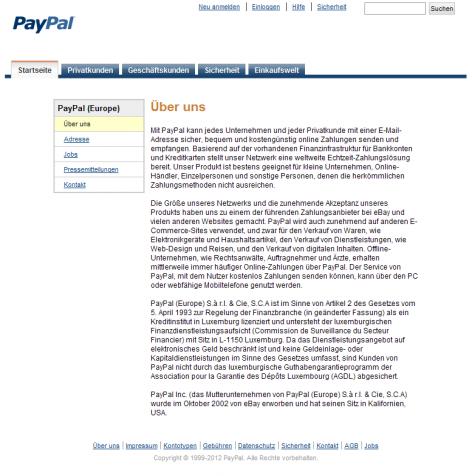 Paypal - Über uns