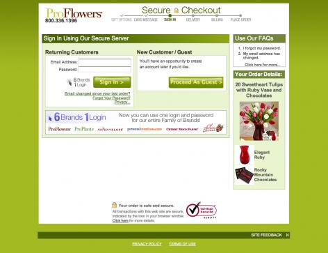 Einfache Pflichtanmeldung im Checkout - Proflowers