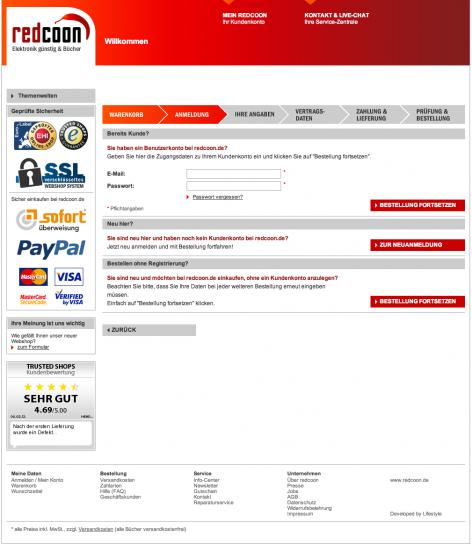 Pflichtanmeldung im Checkout - Redcoon