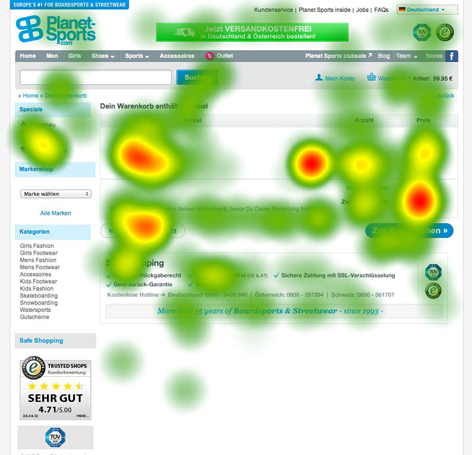 Eyetracking-Test Heatmap - Planet Sports Warenkorb