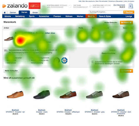 Eyetracking-Test Heatmap - Zalando Warenkorb