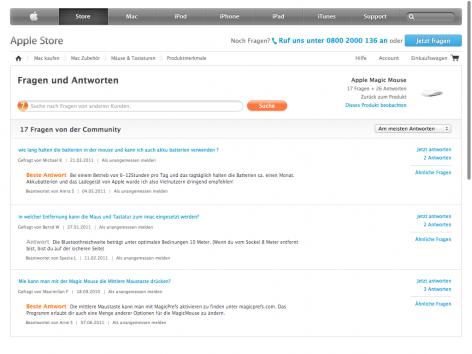 FAQs von Produktdetailseite - Apple-Store