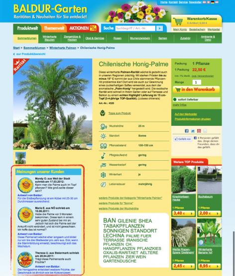 FAQs Produktdetailseite - Baldur-Garten