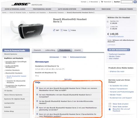 FAQs auf Produktdetailseite - Bose