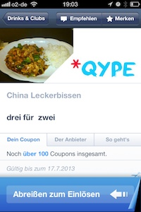 Mobile Couponing - abreissen
