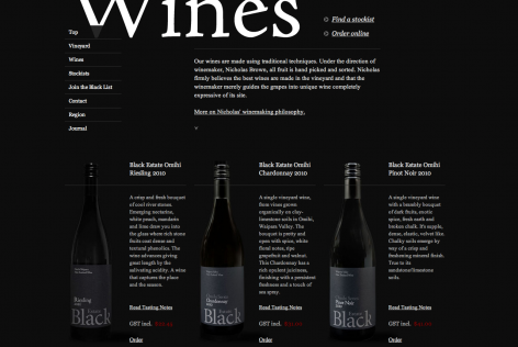 Feststehende Navigation E-Commerce Wines