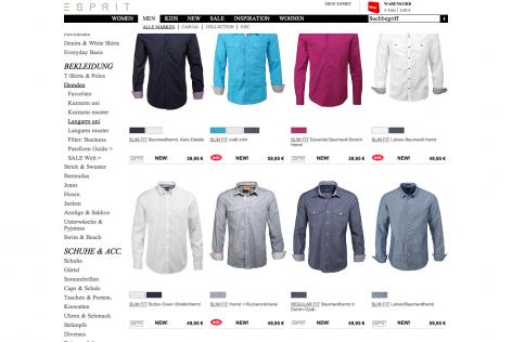 Feststehende Navigation E-Commerce Esprit