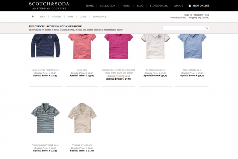 Feststehende Navigation E-Commerce Scotch & Soda