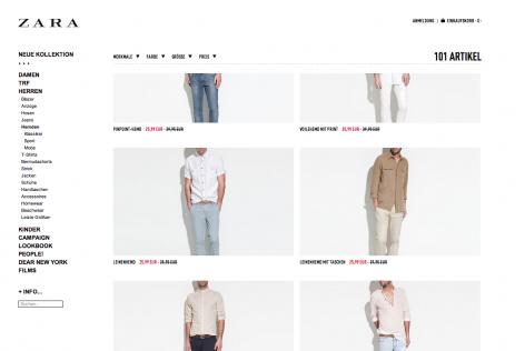Feststehende Navigation E-Commerce Zara