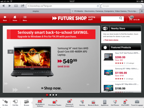 Futureshop iPad Startseite