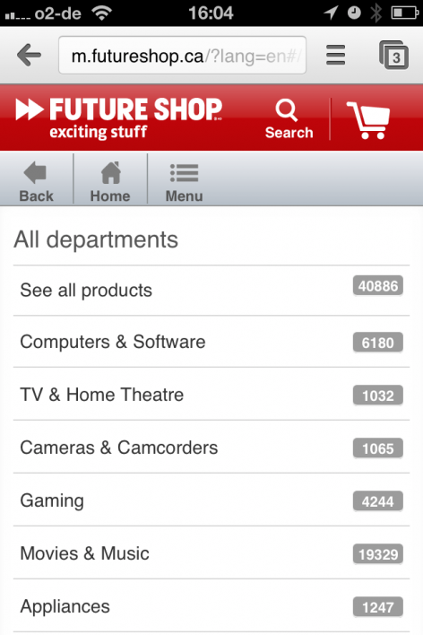 Futureshop iPhone Kategorie