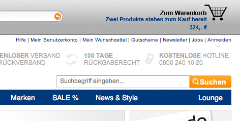 Browser-Integration Warenkorb Zalando