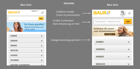 Baur Mobile 2012 - Startseite
