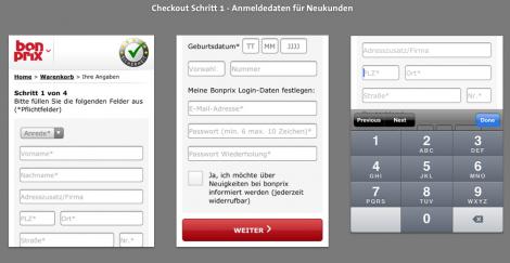 Mobile Checkout - Anmeldung BonPrix