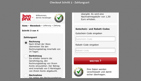 Mobile Checkout - BonPrix Zahlweise