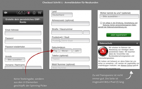 Mobile Checkout Analyse EMP Anmeldung