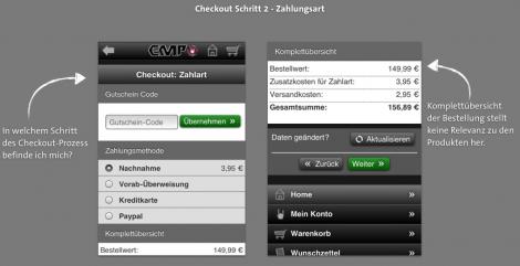 Mobile Checkout - EMP Zahlart auswählen