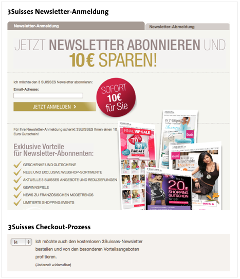 Kommunikation der Newslettervorteile bei 3Suisses