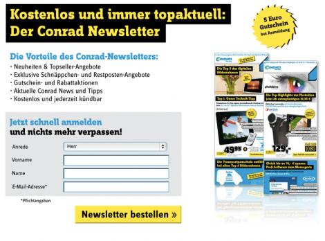 Newsletterseite bei Conrad