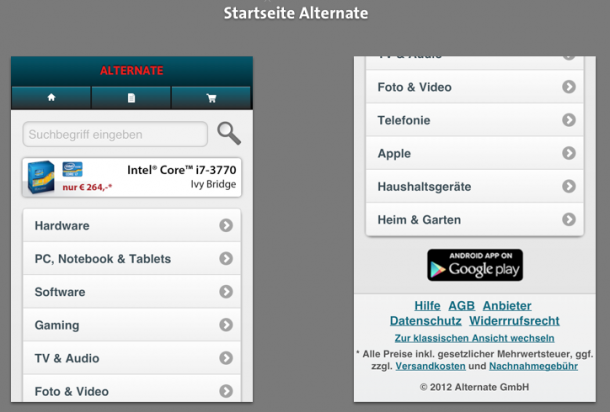 Startseite Alternate Mobile
