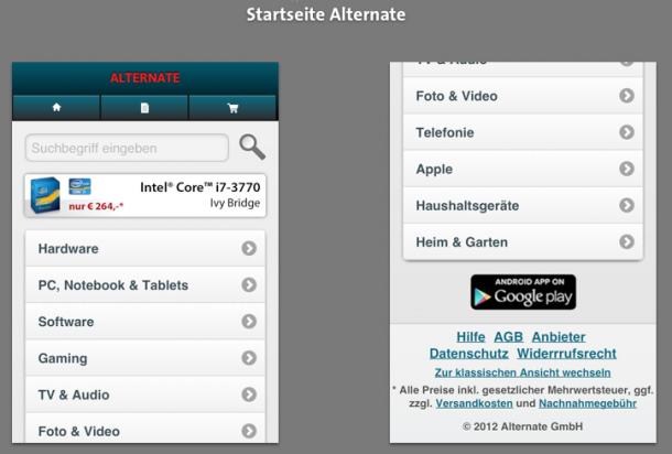 Startseite Alternate Mobile