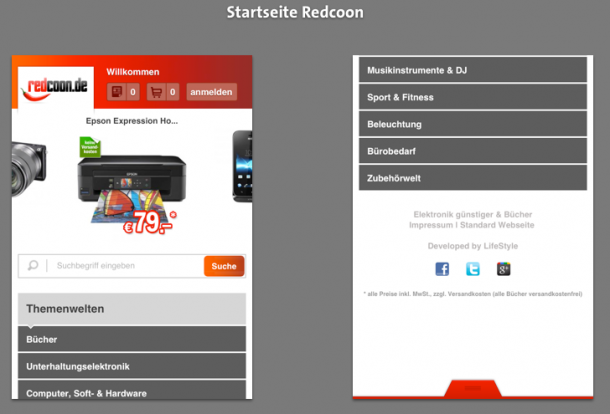 Startseite Redcoon Mobile