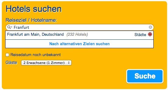 Alternativvorschlaege bei Booking.com