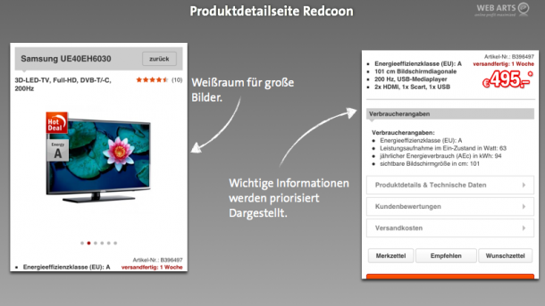 Mobile Produktdetailseite - Redcoon