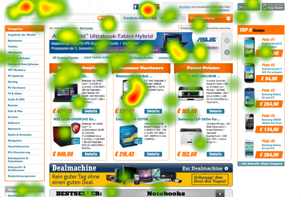 Eyetracking-Heatmap Notebooksbilliger - Anbietersuche