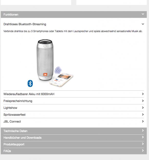 Produkttexte Feature-Menu - JBL