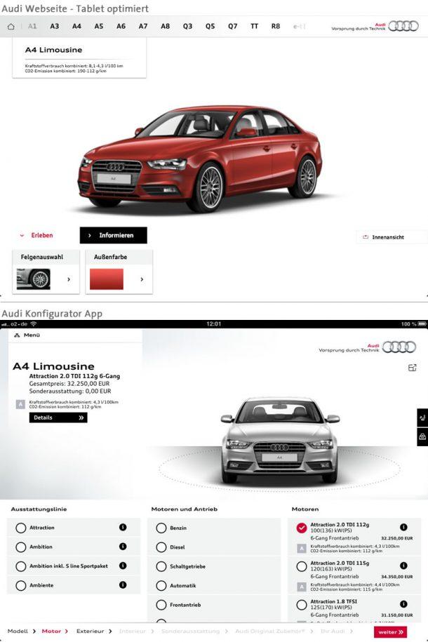 Der Audi Konfigurator im Vergleich: Auf der Tablet optimierten Webseite findet der Nutzer lediglich rudimentäre Anpassungsmöglichkeiten. Die beinhaltet dagegen die volle Bandbreite an Optionen.