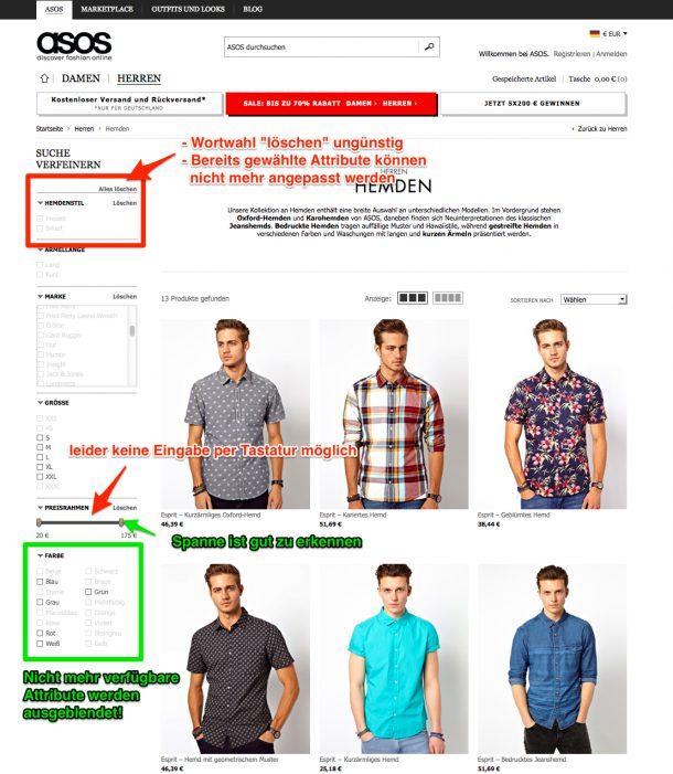 Produktfilter bei ASOS.com