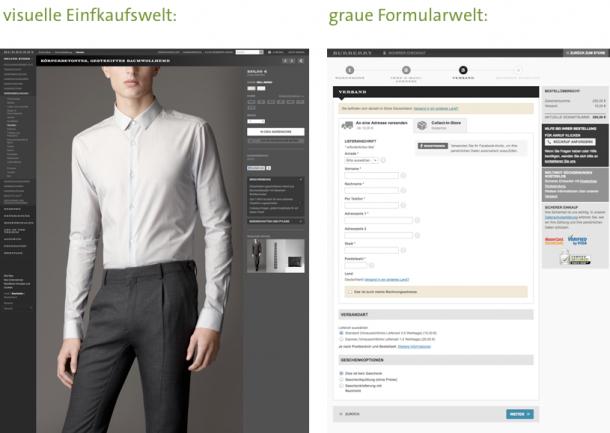 Bei Burberry sind die UX-Kontraste zwischen Produktseite und Checkout sehr deutlich