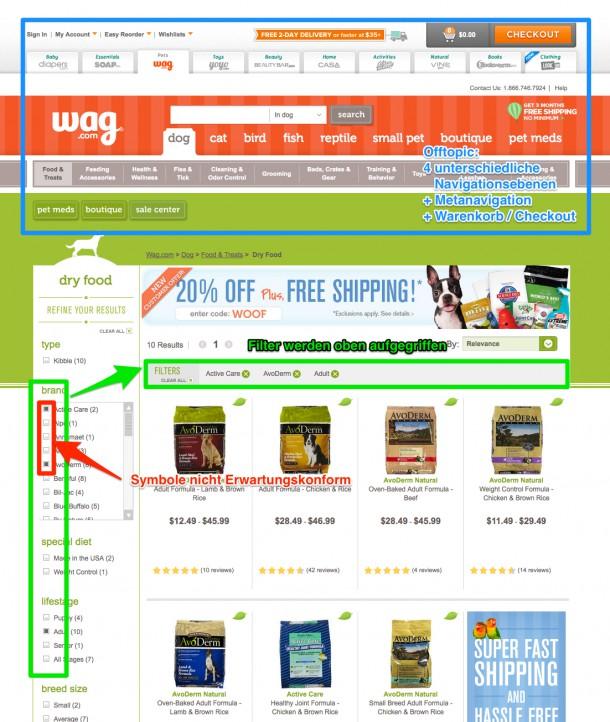 Produkfilter bei Wag.com