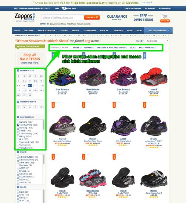 Filternavigation bei Zappos.com