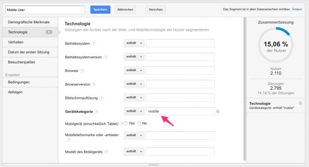 Mobile Segmentierung Google Analytics