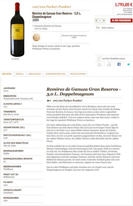 Produktbeschreibung auf vinos.de