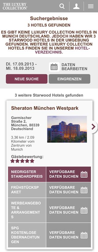 Sheraton München Mobile Landingpage
