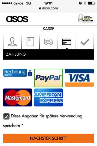 Asos Zahlungsmethoden