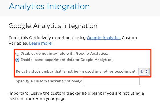 Google Analytics Schnittstelle in Optimzely