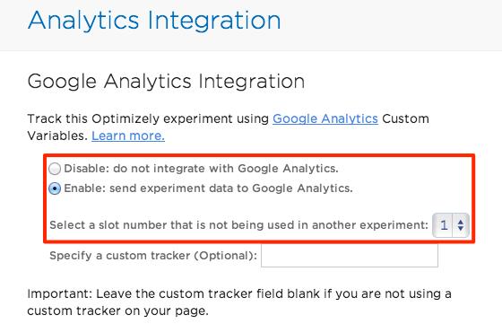 Google Analytics Schnittstelle in Optimzely