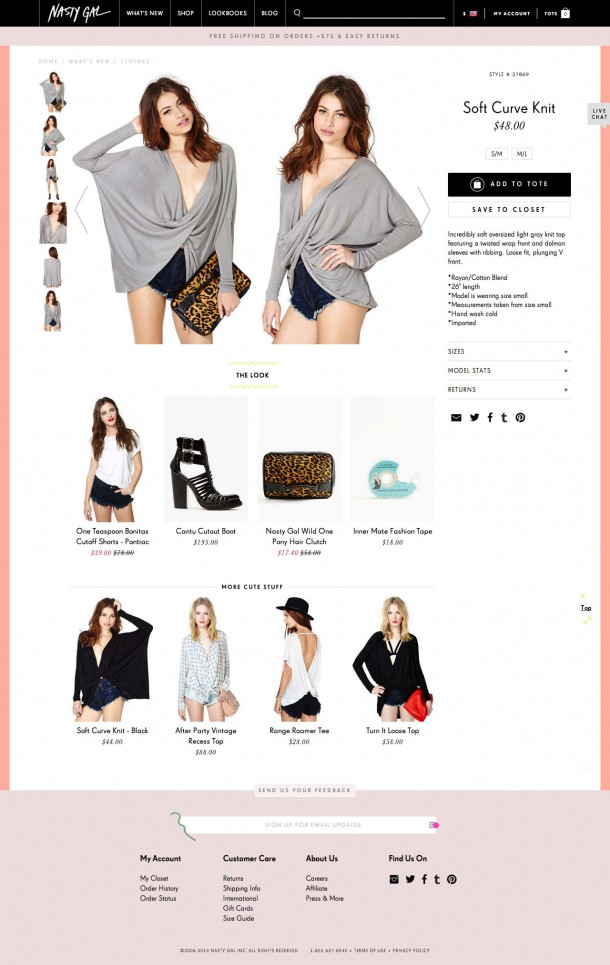 Nasty Gal Produktdetailseite