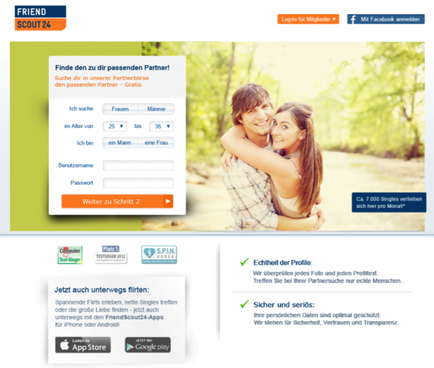 FriendScout24 Landingpage für Traditionalisten