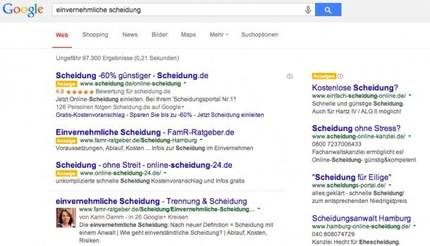 """Google-Suche zum Keyword """"einvernehmliche Scheidung"""""""