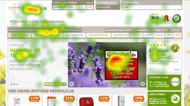 5 Sekunden Heatmap für die Startseite von medipolis.de: Das Eyetracking beweist, dass das Gütesiegel und die ekomi-Bewertungen wahrgenommen werden.