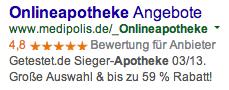 """SEA-Anzeige für das Keyword """"Online-Apotheke"""" von medipolis.de"""