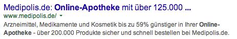"Snippet zum Keyword ""Online-Apotheke"""